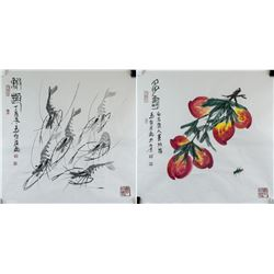 MA SHAOCHEN Chinese b.1952 Ink and Watercolor 2 PC