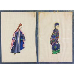 Pair Chinese Watercolour Painting on Paper Framed