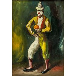 Oil on Board Spanish Artist Clown Dated 1971