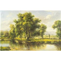 Signed Pil Oil on Canvas Landscape Painting