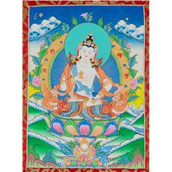 Print of White Tara Scroll with Dust Cover