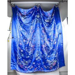 Chinese Blue Silk and Embroidery Bed Sheet