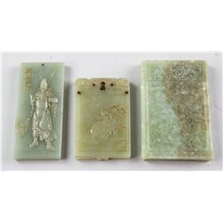 3 Assorted Chinese Green Hardstone Carved Pendants