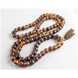 Chinese Amber Round Bead Necklace