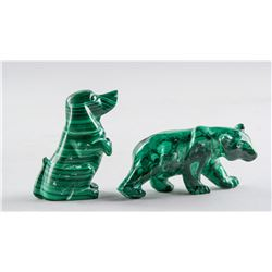 Chinese Malachite Carved Dog and Bear Statue