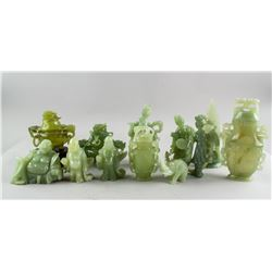12 Assorted Chinese Serpentine Carved Decors