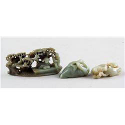3 Assorted Chinese Green Jade Boulders and Toggles