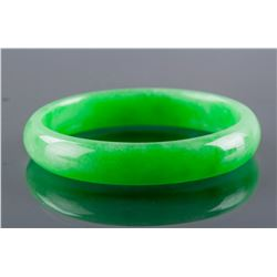 Burmese Imperial Green Jadeite Carved Bangle