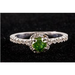 0.46ct Green & 0.40ct White Diamond Ring CRV $4875