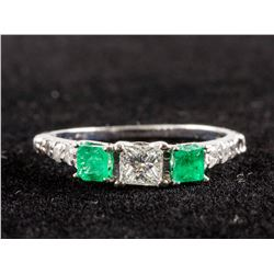 0.36ct Emerald & 0.51ct Diamond Ring CRV $5000