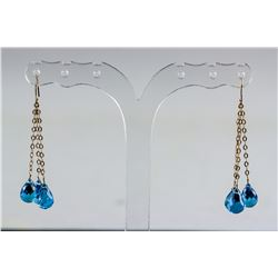 13.0ct Blue Topaz Drop Earrings CRV $1200