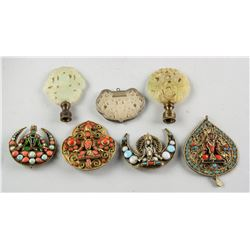 7 Assorted Asian Hardstone and Bronze Pendants