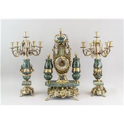 Rococo Style Marble & Metal Garniture Set
