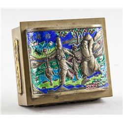 Chinese Bronze Enamel Small Box with CHINA Mark