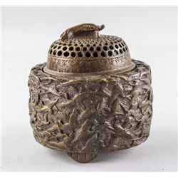 Chinese Bronze Censer with Cover Qianlong Mark