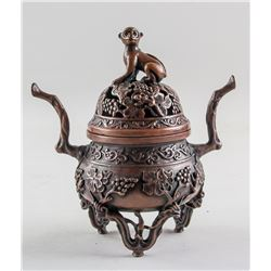 Chinese Bronze Monkey Censer with Qianlong Mark