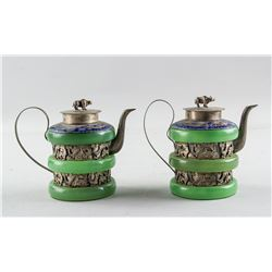 Pair Chinese Silver Cloisonne & Bangle Teapot