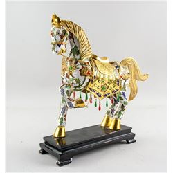 Chinese Bronze Cloisonne Horse Statue with Stand