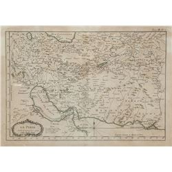 18th Century French Map of Persia Paris Meridian