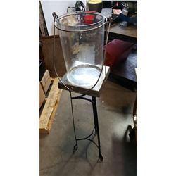 GLASS HURRICANE CANDLE HOLDER AND METAL PLANT STAND