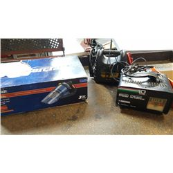 MASTERCRAFT WET DRY VAC AND 2 BATTERY CHARGERS