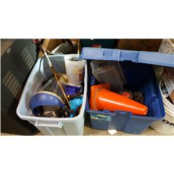 2 TOTES OF TOOLS, RESPIRATOR MASK, AND ROUTER