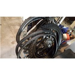 LOT OF BICYCLE WHEELS AND 2 ELECTRIC BIKE WHEELS