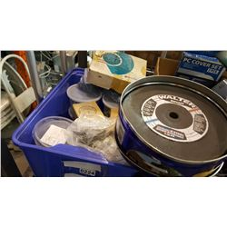 BLUE TOTE OF HARDWARE AND CUT OFF DISCS