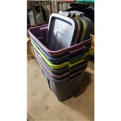 LOT OF RUBBERMAID TOTES W/ LIDS