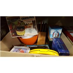 BOX OF KITCHEN ITEMS AND CROCK POT