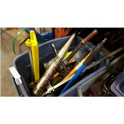 TOTE OF TOOLS, BOLT CUTTERS, AND MORE