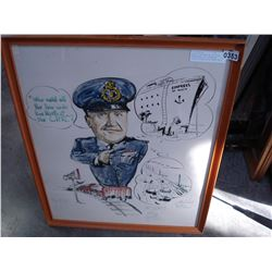 "WATER COLOR AND INK ON PAPER ""CARICUTURE OF A WINNIPED POLICE OFFICER ON A TRAIN 1960"""