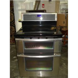 AS NEW WHIRPOOL INDUCTION DOUBLE OVEN WITH GLASS TOP STOVE WORKING ORDER