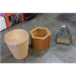 WOOD PLANTER BOX, WICKER BASKET, AND WINE HOLDER