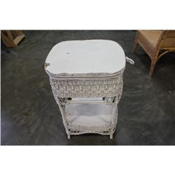 WHITE WICKER TABLE WITH STORAGE