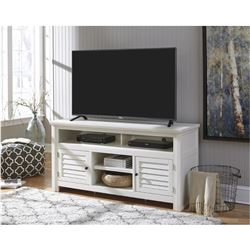 NEW ASHLEY SIGNATURE DESIGN WHITE FINISH CONTEMPORARY TV STAND WITH STORAGE RETAIL $1299