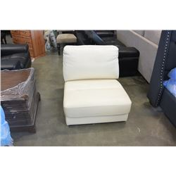 NEW CREAM GENUINE LEATHER SLIPPER CHAIR RETAIL $599
