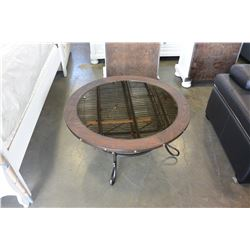 NEW ASHLEY FURNITURE ROUND RUSTIC MIRRORED GLASS TOP COFFEE TABLE RETAIL $599