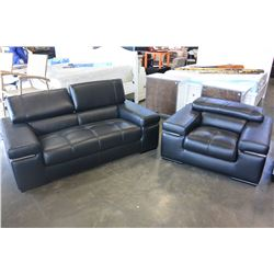 BRAND NEW MODERN BLACK GENUINE LEATHER LOVESEAT AND CHAIR, WITH ADJUSTABLE HEADRESTS, RETAIL $4899