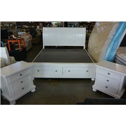 ASHLEY FLOOR MODEL WHITE KINGSIZE SLEIGH BEDFRAME WITH 2 STORAGE DRAWERS,TWO NIGHSTANDS, RETAIL $289