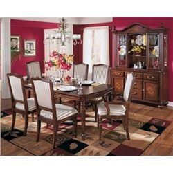 NEW ASHLEY FURNITURE FLOOR MODEL CARVED DINING TABLE WITH 6 ULPHOSTERED CHAIRS RETAIL $2699