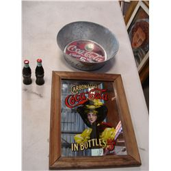 COCA COLA MIRROR ADVERT AND COCA COLA COLLECTIBLES