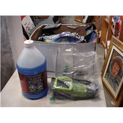 LOT OF GAS POWERED RC CARS AND BOTTLE OF RC GAS/NITRO