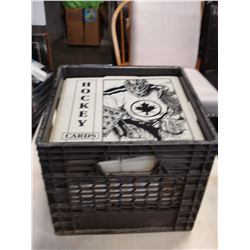 BLACK CRATE OF SPORTS CARDS