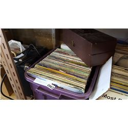 PURPLE TOTE OF RECORDS AND CASE OF 8 TRACKS