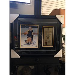 HHOF 1985 GERRY CHEEVERS 16X20 FRAMED AUTOGRAPHED PHOTO W/4X8 CUSTOM SUBLIMATED NAME PLATE COA INCLU