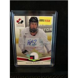HAYDN FLEURY 2014 UD TEAM CANADA JUNIORS AUTOGRAPH & GAME WORN JERSEY 098/199