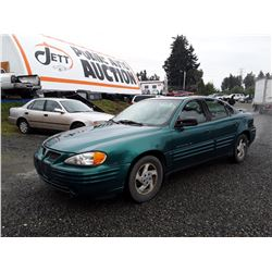 A4---1999 PONTIAC GRAND AM SEDAN, GREEN, 201,023 KMS
