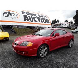 B6---2003 HYUNDAI TIBERON COUPE, RED, 181,550 KMS