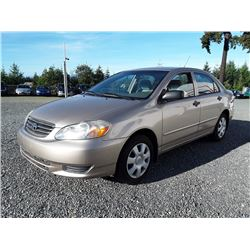 C6---2004 TOYOTA COROLLA SEDAN, BROWN, 190,231 KMS